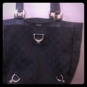 Authentic GG Abbey Canvas Handbag Leather Trim